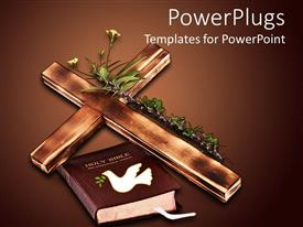 Audience pleasing slide deck featuring a wooden cross with plants and holy bible with dark brown background