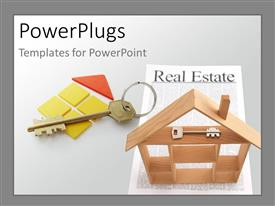 Slide deck featuring wooden house construction with a key over a real estate paper with grey color