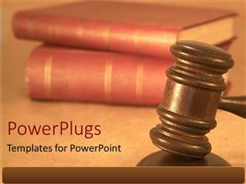 PPT theme featuring wooden judge gavel hammer with red law books for judicial system on a neutral background