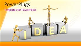 Slides having 3D men arrange large pieces of IDEA puzzle