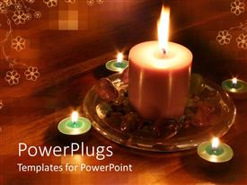 Beautiful PPT layouts with wooden table with white flowers with lighted candles and stones