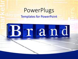 PPT layouts enhanced with the word brand with yellowish background