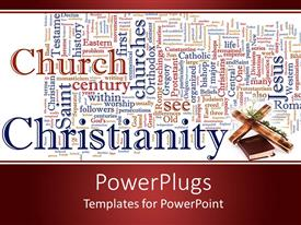 PPT theme enhanced with word cloud Catholicism and Christianity with cross and Bible