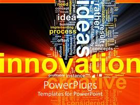 Beautiful presentation with word cloud for innovation process with shiny effects