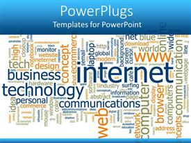Elegant slide deck enhanced with word cloud with words related to internet technology business