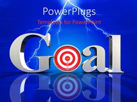 Elegant presentation theme enhanced with the word goal wih a bluish background