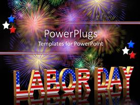 Colorful theme having the word labor day in form of American flag