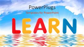 Audience pleasing PPT theme featuring the word learn with sea in the background