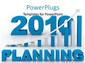 Presentation theme consisting of word planning and financial bars showing growth in front and the year 2010