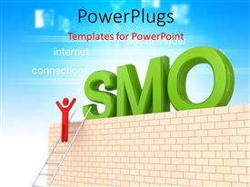 Presentation design with the word SMO with a person climbing the ladder