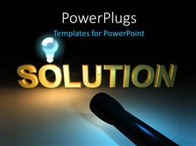 Presentation with the word solution with a light and a bulb