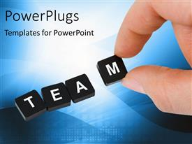PPT theme enhanced with the word team in boxes with bluish background and place for text