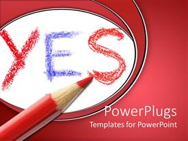 Beautiful slide deck with the word yes and a red color pencil
