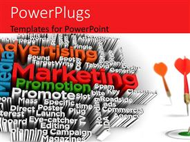 PPT theme enhanced with words related to marketing and promotion with three arrows on a white background