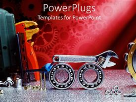 Slides enhanced with working tools wrench, gears, bearings, bolts, screws, mechanical gear on red background
