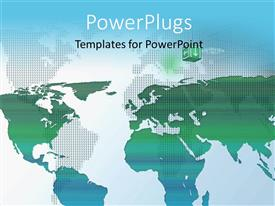 PPT theme enhanced with world map composition, green world map on a blue background