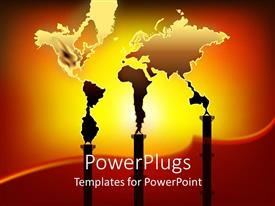 Colorful presentation theme having world map formed from smoke out of three factory chimneys