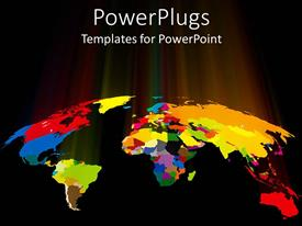 PPT theme enhanced with world map showing countries in different colors on a black background