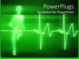 PPT theme having x-ray depiction of human anatomy running human body with heartbeat line on green background