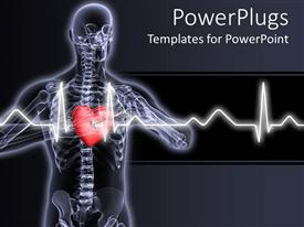 Colorful presentation design having x-ray vision of man with red heart and pulses showing