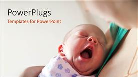 PPT layouts with yawning newborn baby held in mother's arms on light background