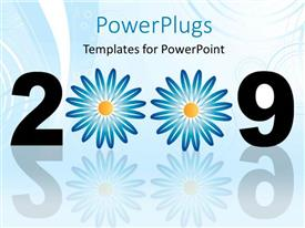 PPT theme having year 2009 with flower decoration