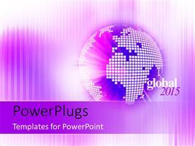 Elegant presentation design enhanced with year 2015 with hi-tech digital globe in purple
