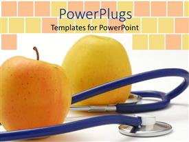 Beautiful presentation theme with yellow apples and blue stethoscope, nutrition, medicine, healthy eating, health