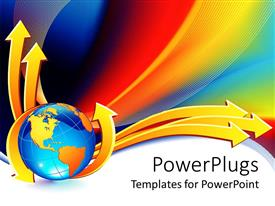 Beautiful PPT theme with yellow and blue globe with yellow arrows on  colorful background