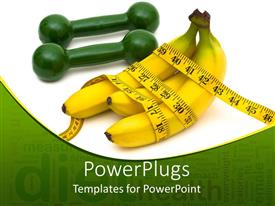 Slide deck featuring yellow bunch of banana wrapped with a measuring tape beside a dumbell
