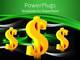 PPT layouts with yellow dollar bill signs in black and green background