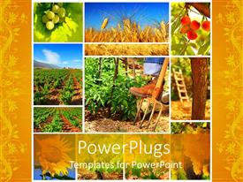 PPT theme with yellow farming collage with different plants and farmer;s boot on fork