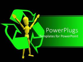 Audience pleasing presentation theme featuring yellow figure surrounded by green recycling symbol on black background