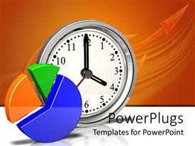 PPT layouts featuring yellow, green and blue pie chart, silver metallic clock showing four o'clock on reflective white surface and orange background with arrow