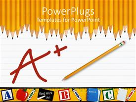 PPT theme having yellow pencil on paper written A+ with many yellow pencils in background