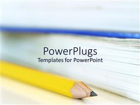 Colorful PPT theme having yellow pencil and textbooks for college students studying education systems