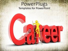 Presentation design enhanced with yellow person climbing ladder with word career in red