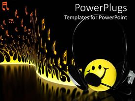 Elegant PPT theme enhanced with yellow smiley face wearing a headphone with burning fire background