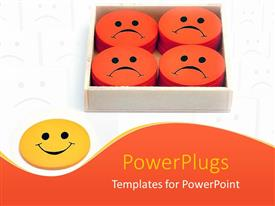 Presentation theme having yellow smiling face next to box filled with orange frowning faces