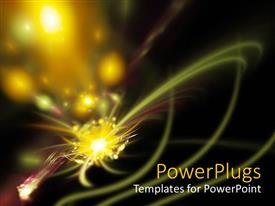 Amazing presentation theme consisting of yellow sparks with light streaks on black background, abstract fractal space art