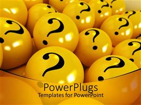 Audience pleasing presentation featuring yellow spheres with black question marks  in yellow background