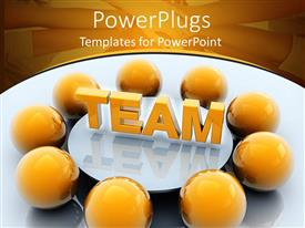 Colorful theme having yellow spheres surrounding white conference table with team in gold letters, teamwork