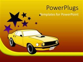 Audience pleasing presentation featuring yellow sport car with stars on gradient red, orange and yellow background