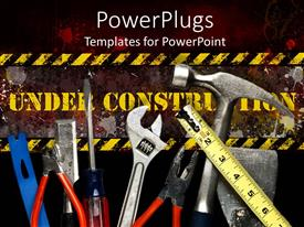 PPT theme enhanced with yellow under construction sign behind tool collection