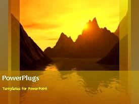 PPT theme enhanced with a yellowish background with a numbe rof mountains