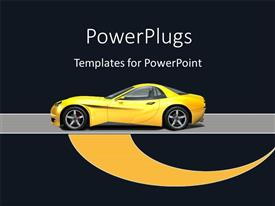 Beautiful PPT theme with a yellowish car with a blackish background and place for text