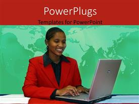 Colorful slide deck having young African American woman operating laptop with world map in background