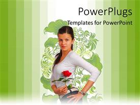 Presentation theme with young beautiful girl posses with rose over floral background and green bars