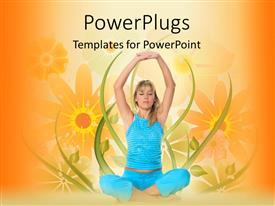 Amazing PPT layouts consisting of young blond girl in blue sportswear performing yoga exercise over floral background