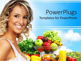 Presentation design having young blond smiling woman standing next to bowl with mix of fresh fruits and glass of juice, vegetables and fruits for healthy diet